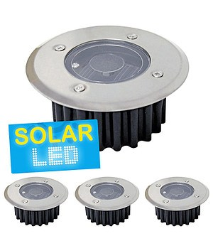"4er-Set LED Solar Bodenstrahler ""rund"",4er-Set"