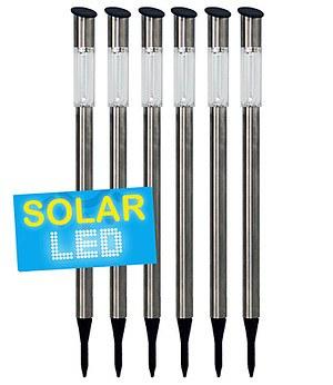 6er Set LED Solarlampen Edelstahl 70 cm,6er-Set