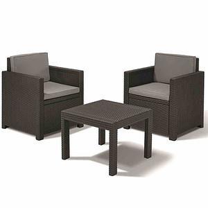 ALLIBERT Victoria Balkonset, Geflechtoptik graphit, bestehend aus: 2 x Sessel,1