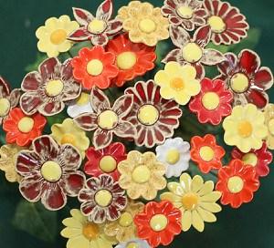 Blumenset 10 Keramikblumen Sommer