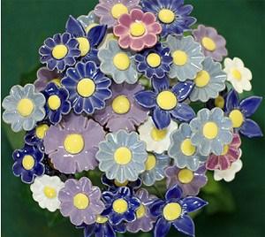 Blumenset 20 Keramikblumen Frühling