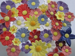 Blumenset Ostern 10 Keramikblumen