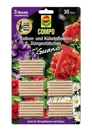 Compo COMPO Balkon- und Kübelpflanzen Düngestäbchen mit Guano (30 Stäbchen)