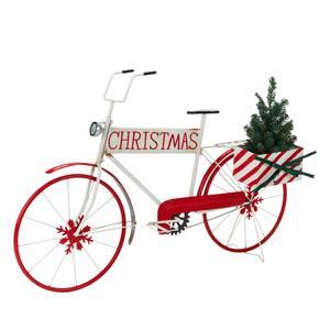 Deko-Objekt Santas Bike Weiß/Rot