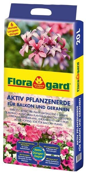 Floragard Aktiv Pflanzenerde für Balkon und Geranien 20L