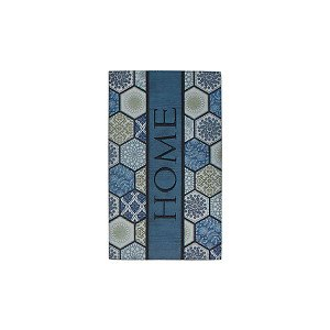 Fußmatte Fliese Blau/Beige 45 x 75 cm