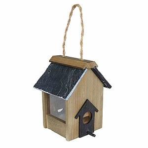 GARDMAN Holz-Samenfuttersäule für Vögel Schieferdach