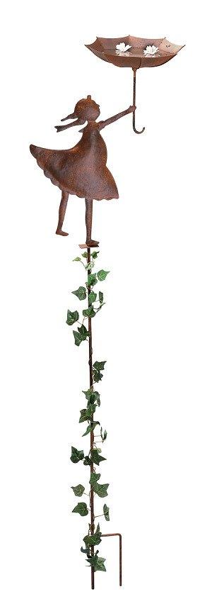 Gartenstecker Mädel mit Schirm