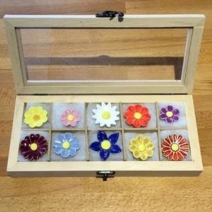 Geschenkset Keramikblumen Herbst, 10 Stück