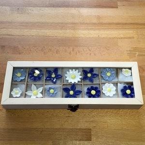 Geschenkset Keramikblumen Winter, 14 Stück
