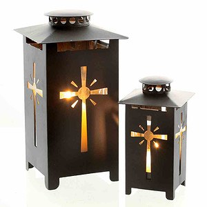 H.G-DEKO Metall Grablaterne mit Kreuzdekor,, 16,5cm H schwarz