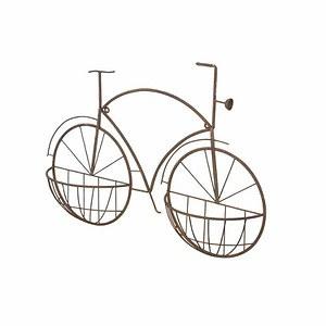 H.G-DEKO Wandbild Fahrrad New York, m. Pflanzvorrichtung, Metall rostbraun, 75x