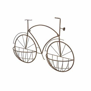 H.G-DEKO Wandbild Fahrrad New York, mPflanzvorrichtung, Metall rostbraun, 75x