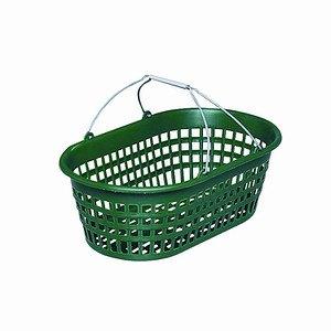 H.G Gartenkorb mit Draht-Klappbügel, 15kg oval, Farbe: grün, mit Draht-Kla