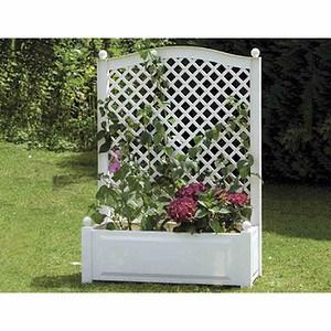 KHW Pflanzkasten mit Spalier, Maße: 100x43x140cm Farbe: weiß