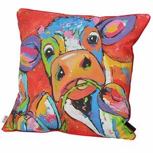 MADISON Zierkissen 50x50 cm, Kuh, 100% Baumwolle