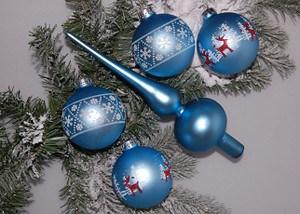 Mein schöner Garten Weihnachtskugeln mit Baumspitze Blau, 5-teilig