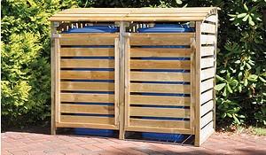 Mülltonnen Box aus Holz, 2er, für Mülltonnen bis 240 Liter