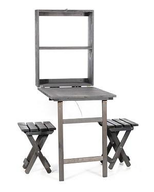 myGardenlust Balkon Tisch-Set klappbar mit 2x Hocker anthrazit