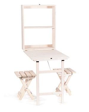 myGardenlust Balkon Tisch-Set klappbar mit 2x Hocker weiß