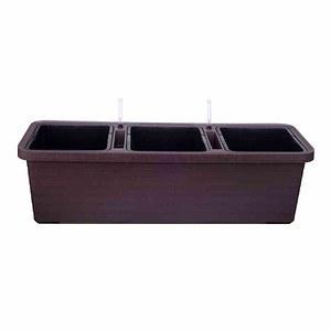PLASTIA Bewässerungskasten Berberis Trio, mit Rollen schokolade