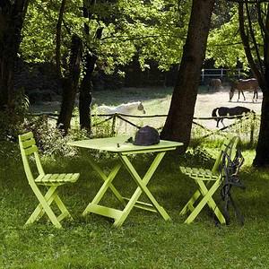 PROGARDEN Camping-Set, limegrün, bestehend aus: 2x Stuhl Birki +1 x Tis