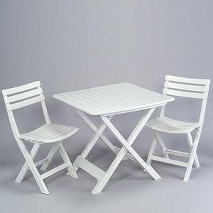 PROGARDEN Camping-Set, weiß, bestehend aus: 2x Stuhl Birki +1 x Tis