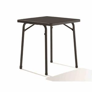 SIEGER Gartentisch eckig 70x70 cm, grau, Stahlrohrgestell, Mecalit-Pro-Platte