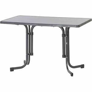 SIEGER Gartentisch, grau, Stahlrohrgestell, Mecalit-Pro-Platte