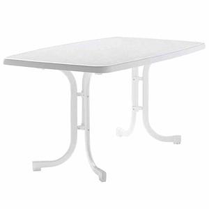 SIEGER Gartentisch oval 150x90 cm, weiß, Stahrohrgestell, Mecalit-Pro-Platte