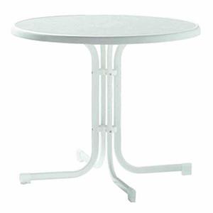 SIEGER Gartentisch, weiß, Stahlrohrgestell, Dekorplatte