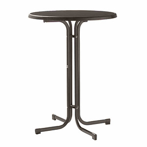 SIEGER Stehbiertisch, grau, Stahlrohrgestell, Mecalit-Pro-Tischpla