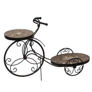 SIENA GARDEN Blumenständer Fahrrad Felina,Metall silber-schwarz, 58x19x38cm