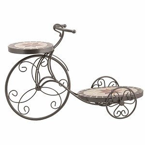 SIENA GARDEN Blumenständer Fahrrad Stella, Metall schwarz Mosaik-Optik 58x19x38,5cm