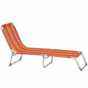 SIENA GARDEN Dreibeinliege Kamiros, rot/orange, Aluminium silber / Bezug rot/ orang
