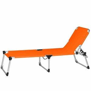 SIENA GARDEN Dreibeinliege XXL silber/orange, Gestell Aluminium, Bezug orange
