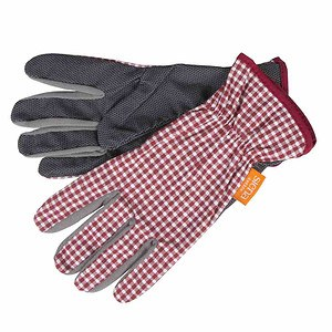 SIENA GARDEN Handschuh Easy Grip Caro Baumw, PVC Noppen rt,weiß