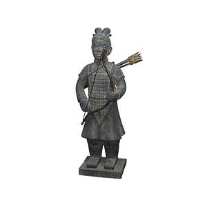 SIENA GARDEN Krieger mit Bogen, Tonerde washed-grey 43x35x124cm