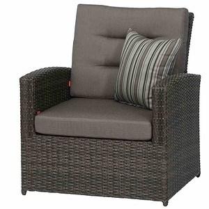 SIENA GARDEN Lounge Sessel Porto, grau, Aluminium / Geflecht grau, inklusive K