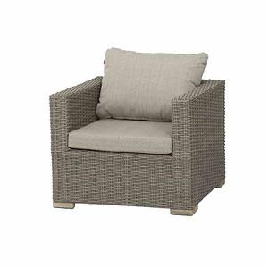 SIENA GARDEN Lounge Sessel Veneto, sepia mit Kissen, Aluminium / Füße Akazienholz F