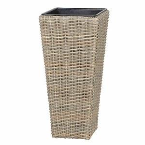 SIENA GARDEN Pflanzkübel Odena oak-grey (Almada), Stahl-Gestell, Kunststoffgeflecht