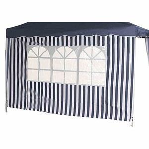 SIENA GARDEN Seitenteile zu Faltpavillon, blau/weiß, 2er Set, 1x mit und 1x ohne Fe