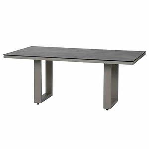 SIENA GARDEN Tisch Derio 180x100 cm, Aluminiumgestell hellgrau / Keramik-Ti