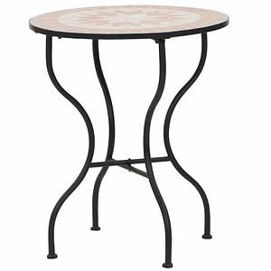 SIENA GARDEN Tisch Finca Ø 60 cm, rund Gestell Eisen/ Mosaik-Optik