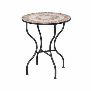 SIENA GARDEN Tisch Finca Ø 70 cm, rund, Gestell Eisen/ Mosaik-Optik