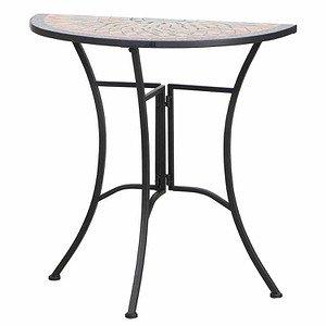 SIENA GARDEN Tisch Prato halbrund 70 cm, Eisen mit Mosaikoptik