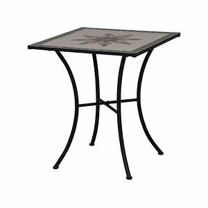 SIENA GARDEN Tisch Stella 64x64 cm, eckig, Gestell Eisen / Mosaik-Optik