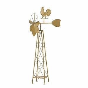 SIENA GARDEN Windrad Hahn, Metall pulverbeschichtet gelb,, 52x46x133cm