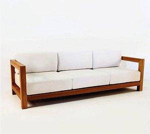 Sofa Eiche Modern mit Kissen 3-Sitzer