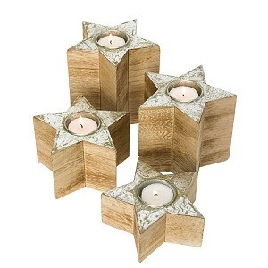 Teelichthalter-Set, 4-tlg. Wood Stars